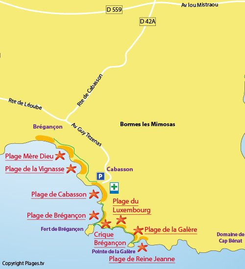 Map of the Bregancon Beach in Bormes les Mimosas