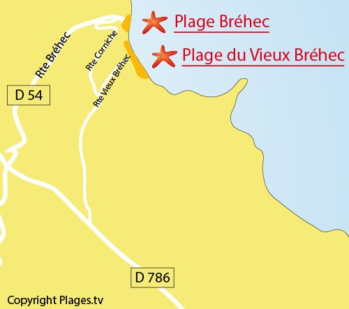 Map of Bréhec Beach in Plouha