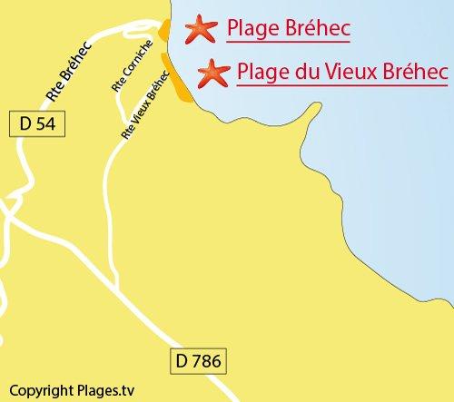 Carte de la plage du Bréhec à Plouha