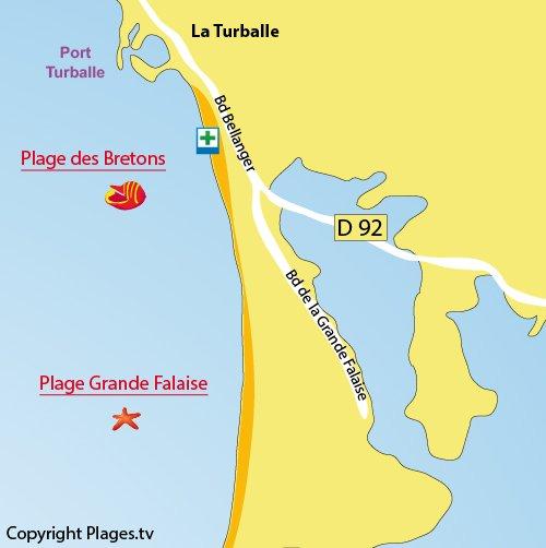 Plan de la plage des Bretons à La Turballe (44)