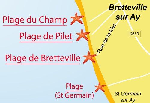 Carte de la plage de Rochemont - Bretteville sur Ay