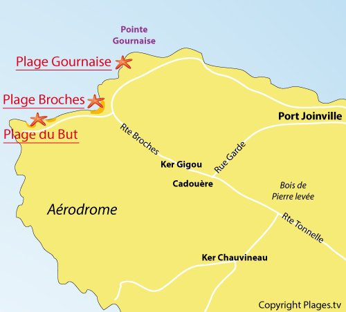 Map of Broches Beach in Ile d'Yeu
