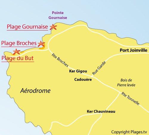 Plan de la plage des Broches sur l'ile d'Yeu