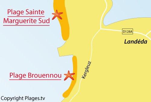 Carte de la plage de Brouennou à Landéda