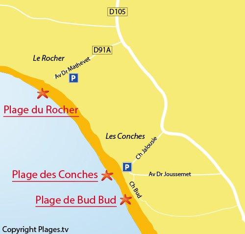 Carte de la plage du Bud Bud à Longeville sur Mer (les Conches)