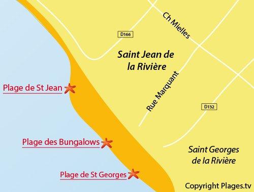 Carte de la plage des Bungalows à St Jean de la Rivière