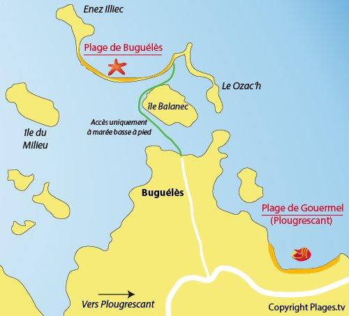 Plan de la plage à proximité de Buguélès