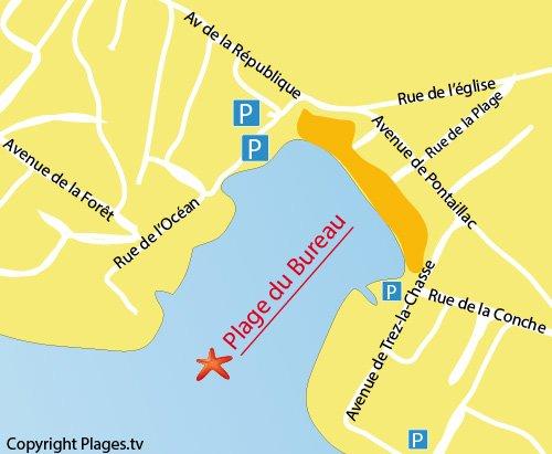 Carte de la plage du Bureau à Saint Palais sur Mer
