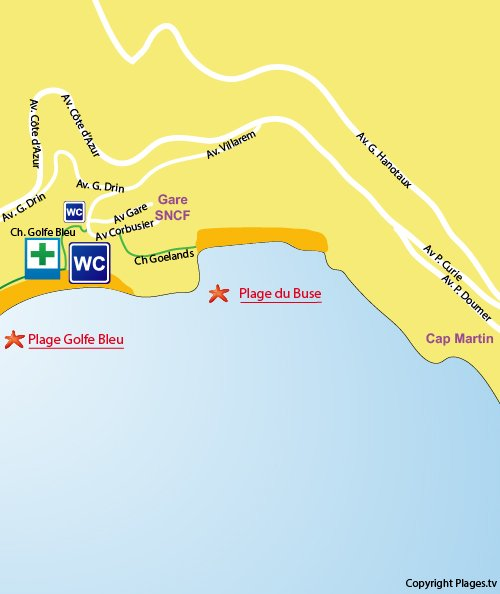 Map of Buse Beach in Roquebrune Cap Martin
