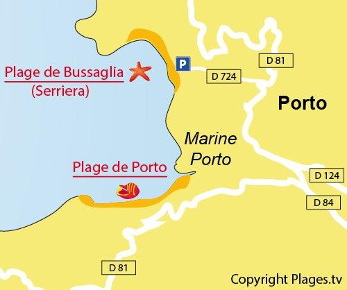 Plan de la plage de Bussaglia dans le golfe de Porto en Corse
