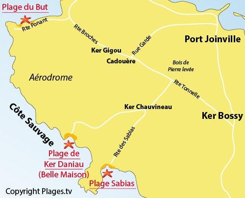 Carte de la plage du But sur l'ile d'Yeu