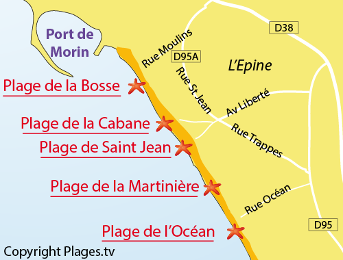 Map of the Cabane beach in Noirmoutier