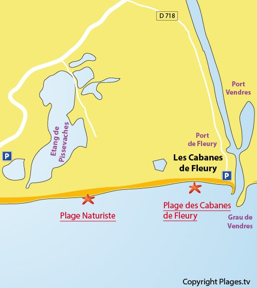 Map of Cabanes de Fleury Beach in France