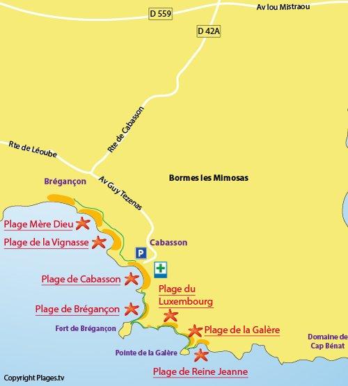 Mappa della Spiaggia di Cabasson di Bormes les Mimosas