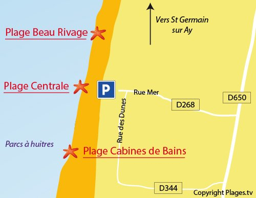 Map of Cabines de Bains Beach in Gouville
