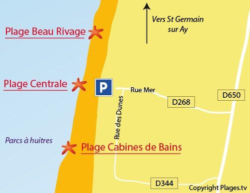 Map of Cabines de Bains Beach in Gouville