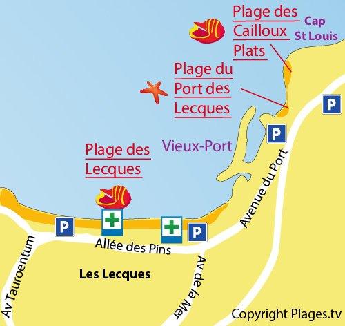 Plan de la plage des Cailloux Plats à St Cyr sur Mer