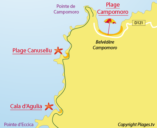 Map of Cala d'Agulia beach in Campomoro