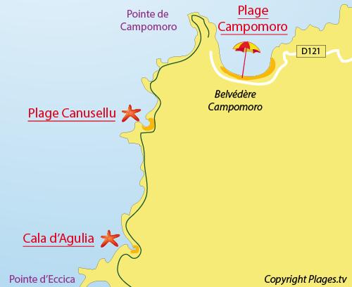 Plan de la plage de la Cala d'Agulia à Campomoro