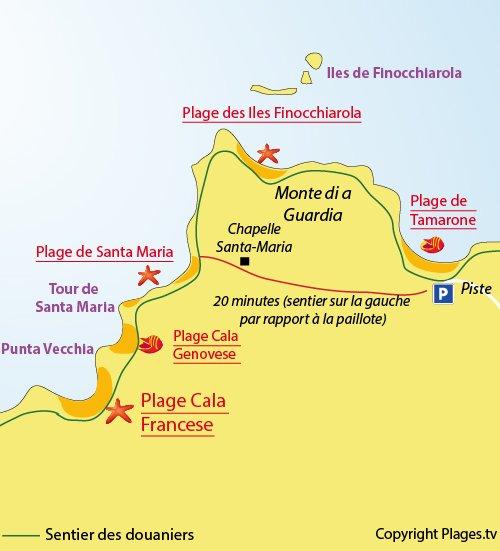 Plan de la plage de la Cala Francese dans le Cap Corse - Macinaggio