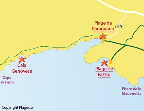 Plan de la crique de la Cala Genovese à Bonifacio
