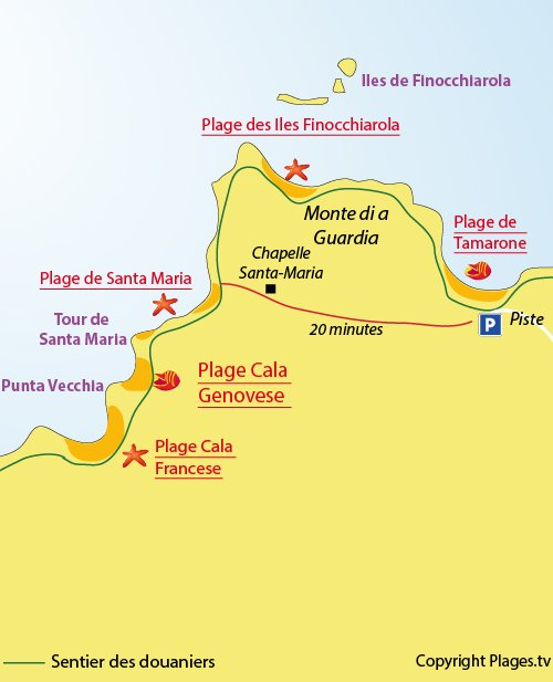 Plan de la plage de la Cala Genovese dans le Cap Corse