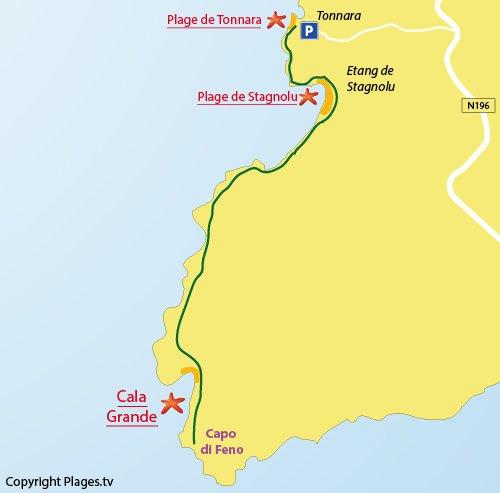 Plan de la crique de Cala Grande à Bonifacio