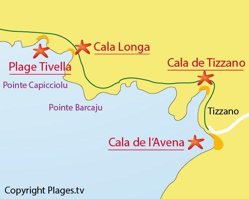 Mappa della spiaggia Cala Longa in Sartène