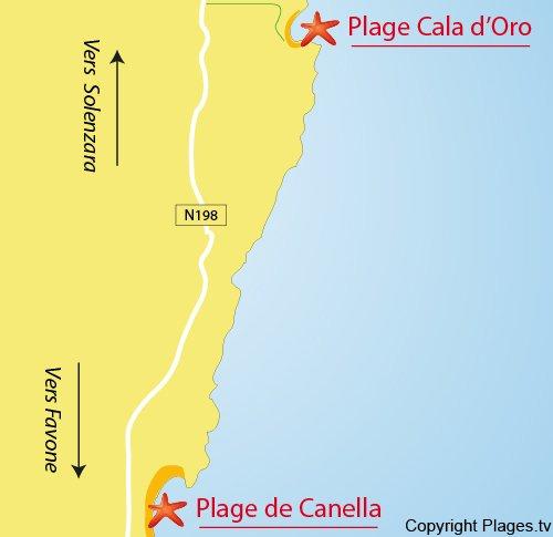 Plan de la plage de la Cala d'Oro à Solenzara