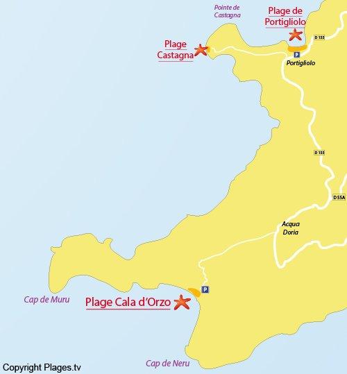 Map of Cala d'Orzo Beach in Coti Chiavari
