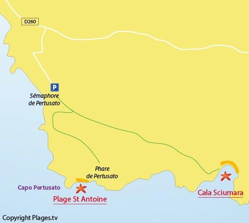 Plan de la plage de Sciumara à Bonifacio