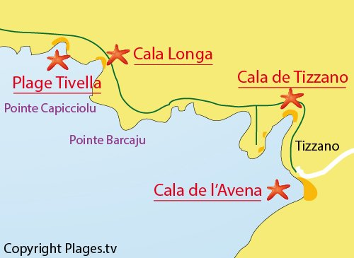 Map of Cala de Tizzano beach  - Sartène