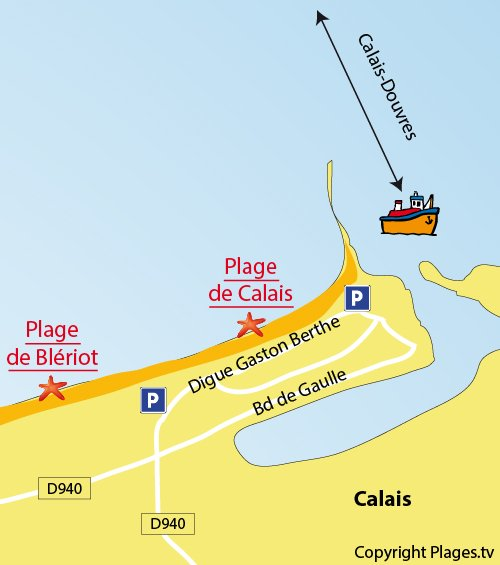 Map of the Calais beach in France