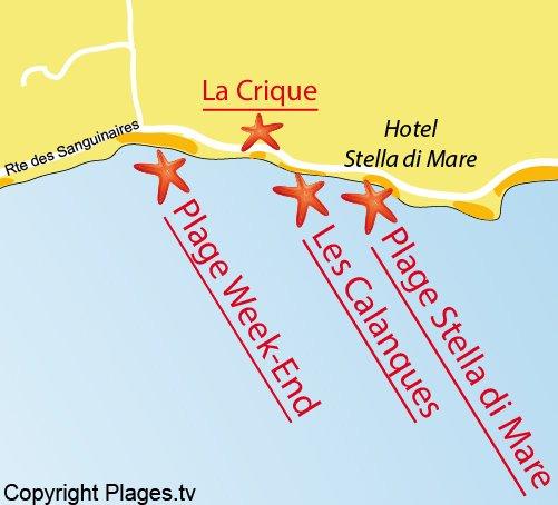 Carte de la plage de la Calanque à Ajaccio