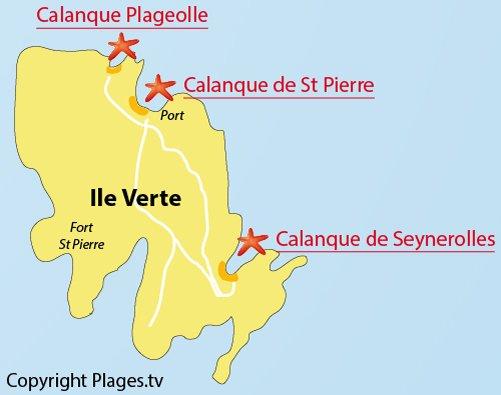 Carte de la calanque de Plageolle sur l'ile Verte