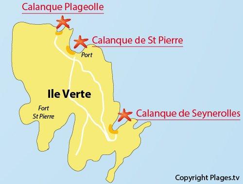 Plan de la calanque St Pierre sur l'ile verte