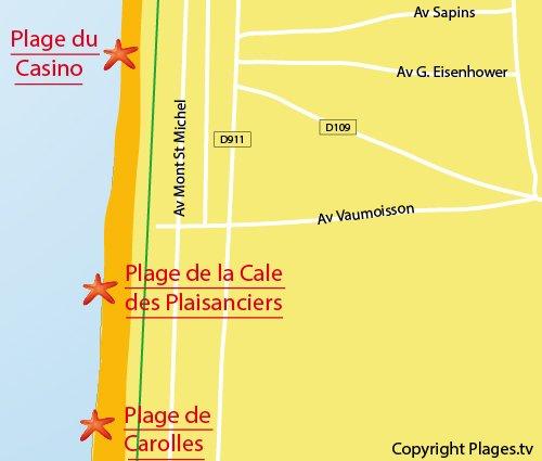 Carte de la plage de la cale des Plaisanciers de Jullouville