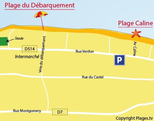 Map of Caline Beach in Bernières sur Mer