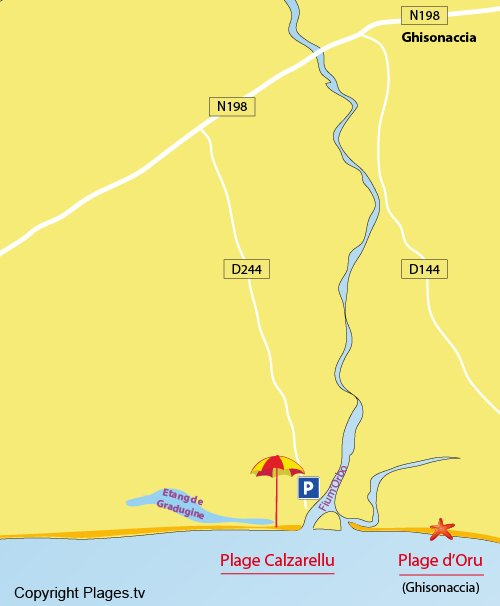 Carte de la plage de Calzarellu en Corse