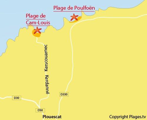 Carte de la plage de Cam Louis de Plouescat