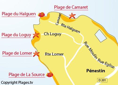 Map of Camaret Beach - Pénestin