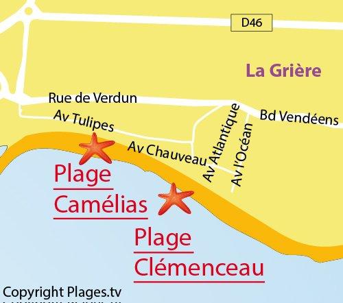Carte de la plage de Camélias à La Tranche