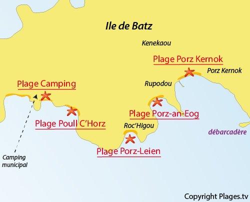 Carte de la plage du Camping de l'ile de Batz
