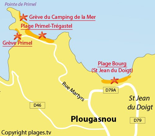 Carte de la plage du Camping de la Mer de Plougasnou