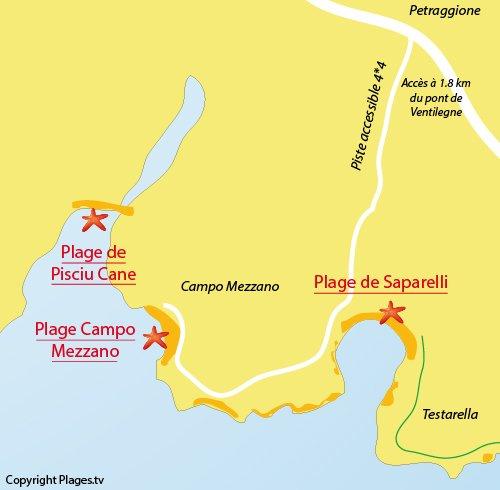 Plan de la plage de Campo Mezzano à Bonifacio