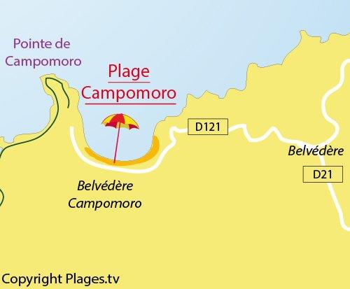 Carte de la plage de Campomoro en Corse