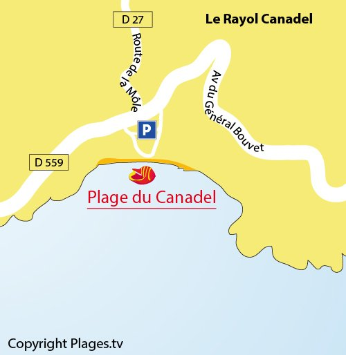 Map of Canadel Beach in France