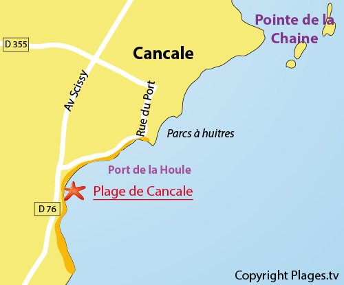 Map of Cancale beach - Port la Houle