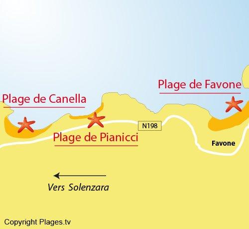 Plan de la plage de Canella à Solenzara