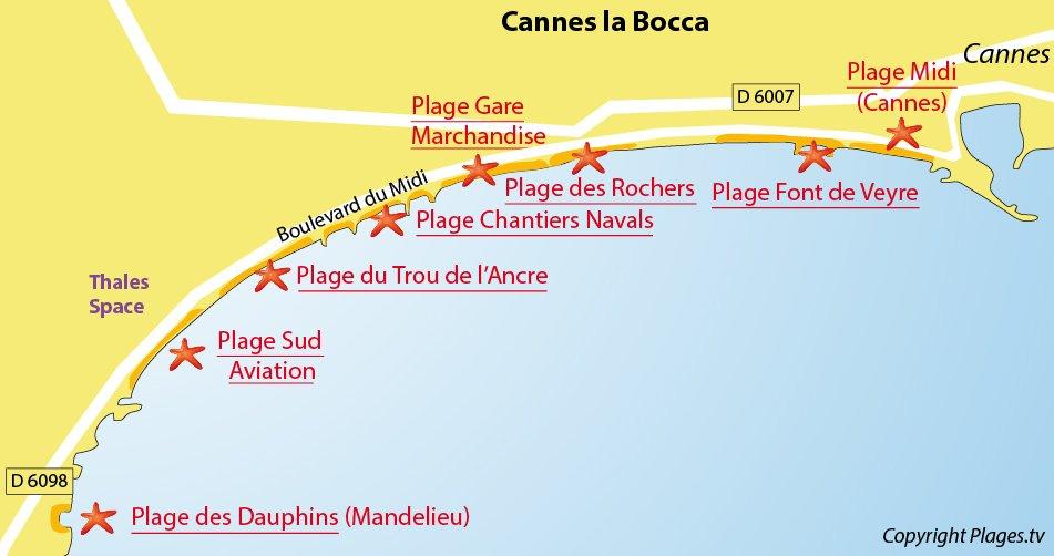 Carte des plages de Cannes la Bocca